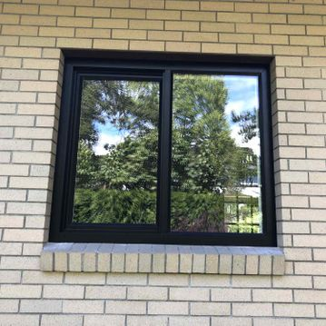 View of black colour exterior windows